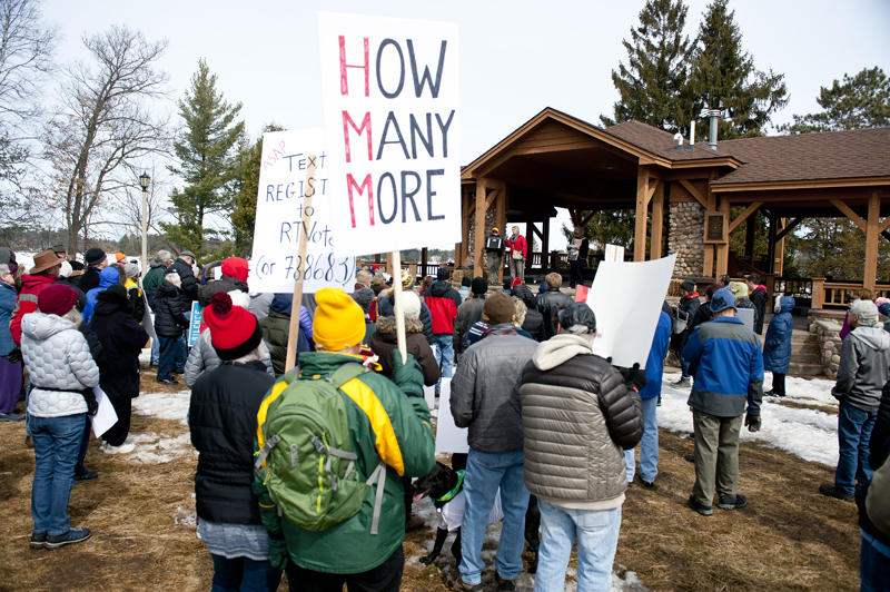 A few speakers address the crowd at Torpy Park in downtown Minocqua following a march calling for gun reform, and drawing awareness to school shootings and other gun violence.