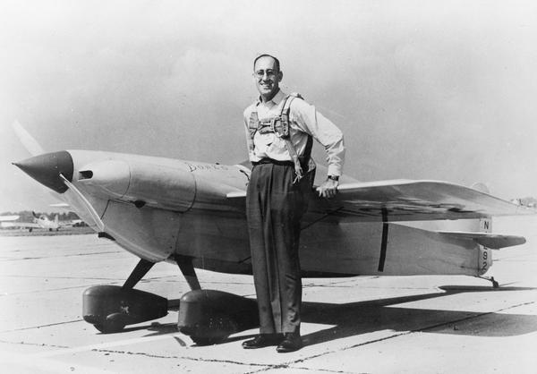 Steve J. Wittman of Oshkosh won the free for all race in 1931 by an easy margin as his personally-built Wittman Midwing lapped all other contestants.  Wittman is pictured here in 1949 with his Bonzo II.