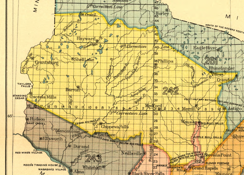 Map of the Wisconsin portion of the Treaty of St. Peters in 1837. The Wisconsin portion is designated as 242 on the map.