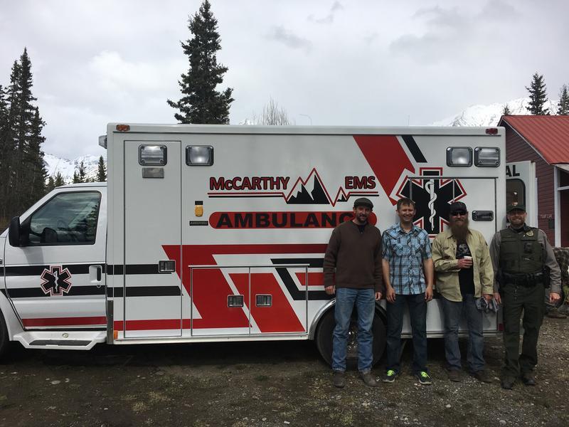 Boulder Junction's Jon Dobbs, McCarthy's Jacob Shultz, Randy Samz, and National Park Service ranger Stephens Harper.