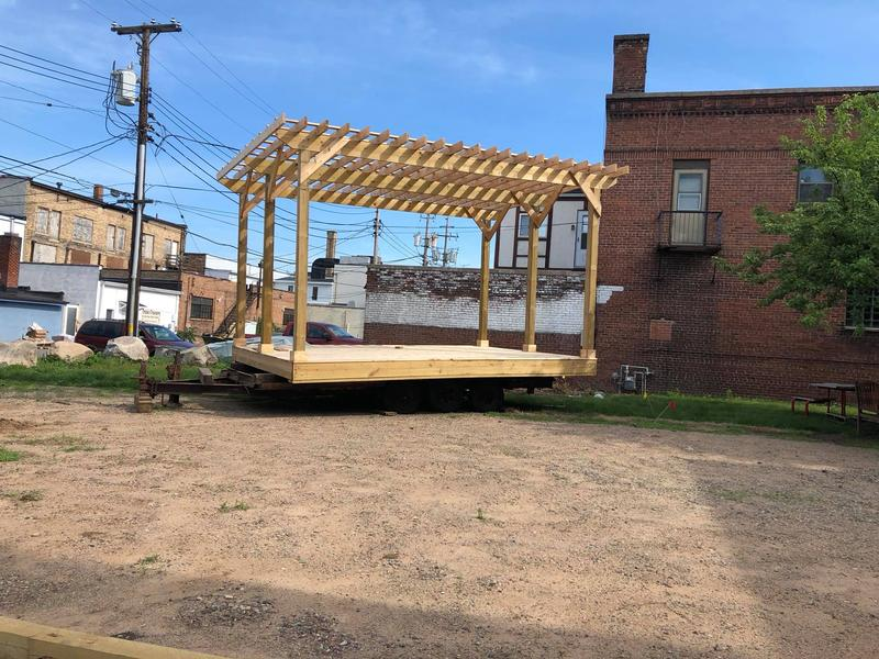 The new outdoor stage at ArtStart Rhinelander, located at 68 South Stevens Street.