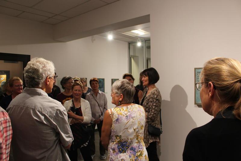 Artist Karen Bondarchuk at the opening reception to her exhibit at ArtStart Rhinelander. The exhibit will be at ArtStart until August 18th, 2018.