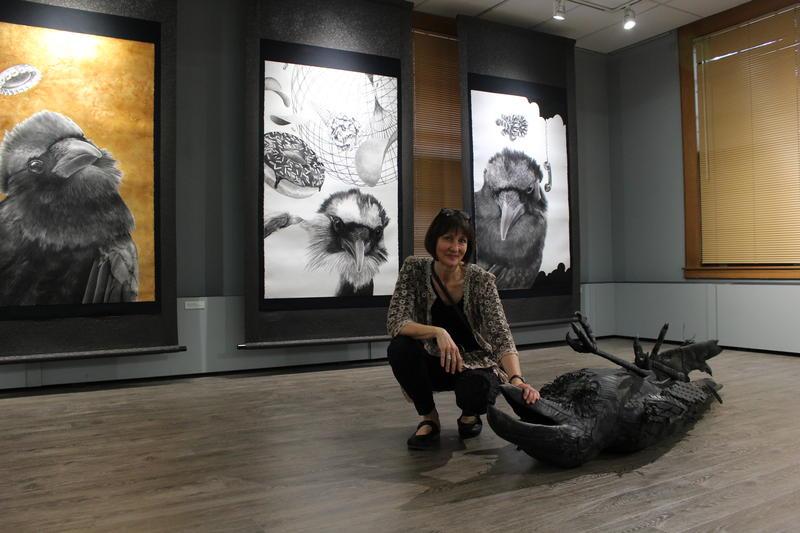Artist Karen Bondarchuk at her exhibit at ArtStart Rhinelander. The exhibit will be at ArtStart until August 18th, 2018.