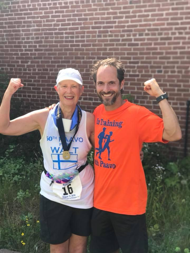 """UPDATED PHOTO: Enni Gregas and Larry Lapachin after crossing the """"Finnish"""" line at the 50th Paavo Nurmi marathon on Saturday, August 11th."""