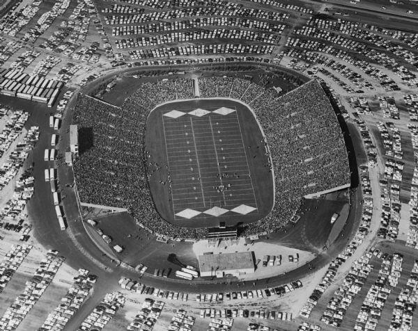 A 1957 photo of Lambeau Field with a full parking lot. Courtesy of the Green Bay Press Gazette.