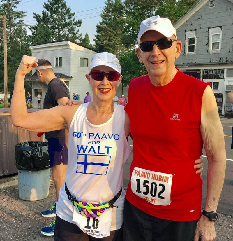 """UPDATED PHOTO: Enni Gregas after crossing the """"Finnish"""" line at the 50th Paavo Nurmi marathon on Saturday, August 11th. She is pictured here with her husband, Carl. She finished first in her age group."""