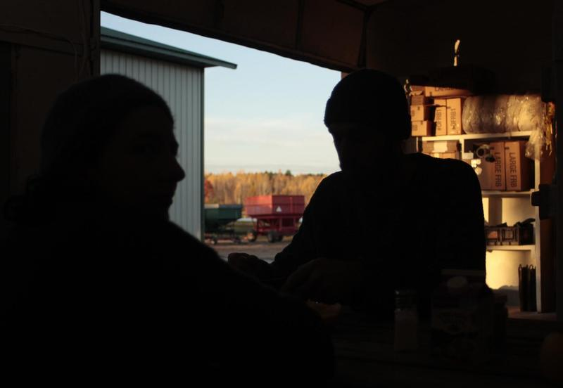 Perre Kerch and Briana Waltman in the breakroom at James Lake Farms.