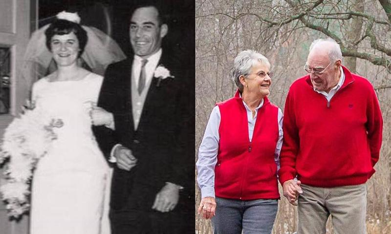 Beth and Turk Flory on their wedding day (left) and today (right).
