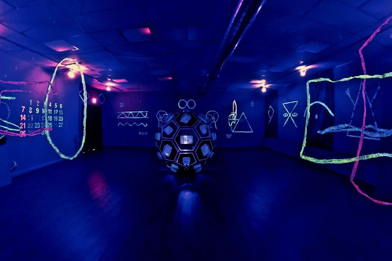 Dark Airing by David Hamlow is currently on display at ArtStart Rhinelander and features hobo symbols.