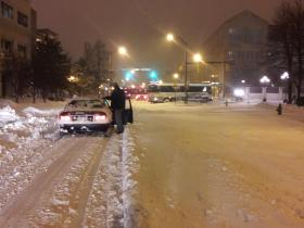 A Rochester bus stuck on Broad Street Thursday morning