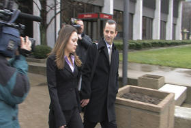 Dawn Nguyen and attorney Matt Parinello leaving Tuesday's Federal Court hearing.