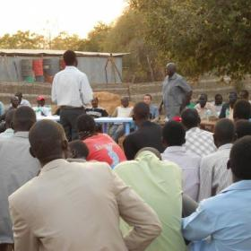 An impromptu meeting on education was held the first day Hélène arrived in Mayan Abun, South Sudan.