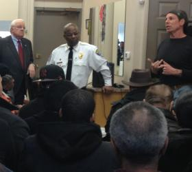 "Rochester Mayor Tom Richards and Police Chief James Sheppard at Whitmore's International Barbershop for Tuesday's ""Shop Talk"" event."