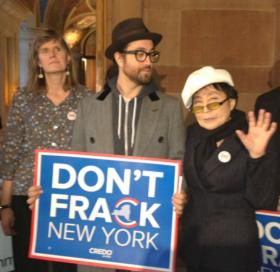 Sean Lennon and Yoko Ono at the Capitol earlier this winter