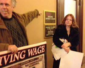 Mark Dunlea of Hunger Action Network, Jo Ann Farrell of Occupy Albany, protest outside Senator Klein's office