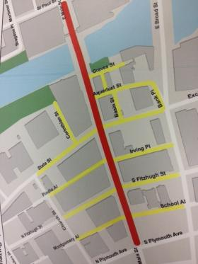The red highlighted Street is Main Street, the primary street closure to vehicular traffic. The yellow highlighted roads are open to local traffic only. Police are allowing local cars and pedestrians to enter on those streets to park or have access into buildings on that particular block.