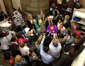 Democratic Assemblywoman hold news conference to urge Senate to approve abortion rights provision