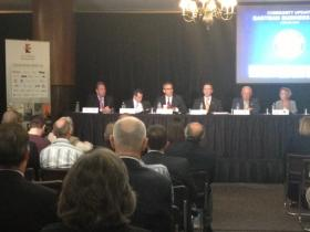 State and local officials joined by business leaders at the Eastman Business Park for a community update.