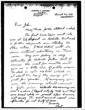 A letter written by Chester Carlson describing the first Xerox machine installation.