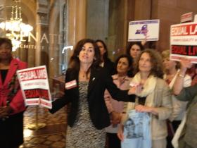Women's Equality Act coalition members lobbying outside the Senate chamber in June 2013