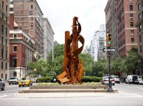 "The sculpture ""Cloaked Intention"" on Park Avenue in NYC."