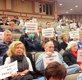 Anti fracking activists at a recent hearing on the state's environmental budget. More are expected at a health hearing Monday.