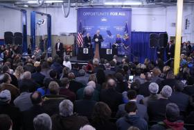 United States Vice President Joe Biden addressing the crowd at MCC's  Applied Technologies Center