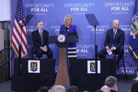 Dr. Jill Biden addressing audience at MCC's Technology Center