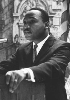 Detail of Dr. Martin Luther King, Jr. delivering his address to the New York State Civil War Centennial Commission at the Park Sheraton Hotel.