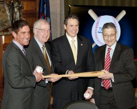 Cuomo and legislative leaders pose for post- budget photo