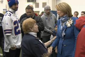 Ralph Wilson's wife, Mary Wilson meets with fans in Orchard Park.