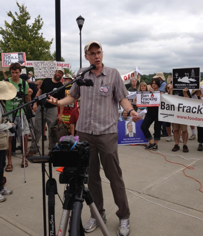 Environmentalist Bill McKibben addresses rally