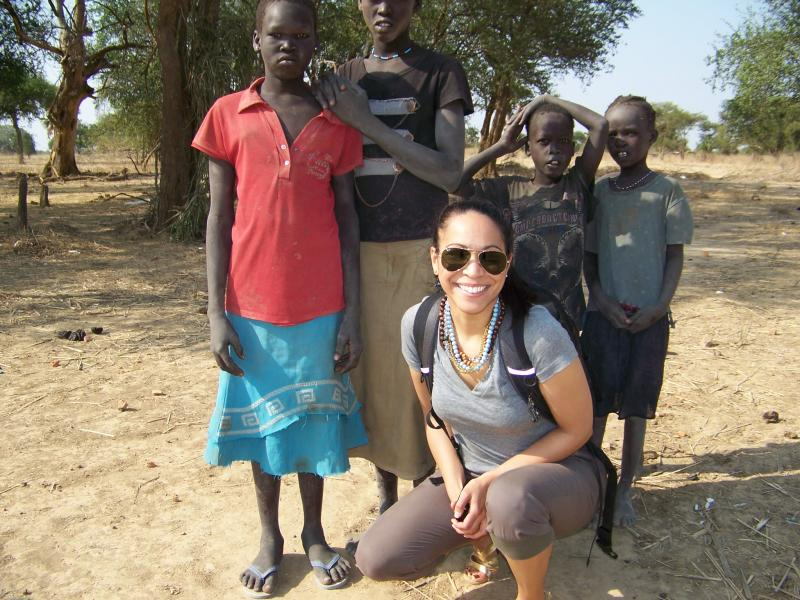 Hélène with students from Ajong Primary School in Mayan Abun, South Sudan