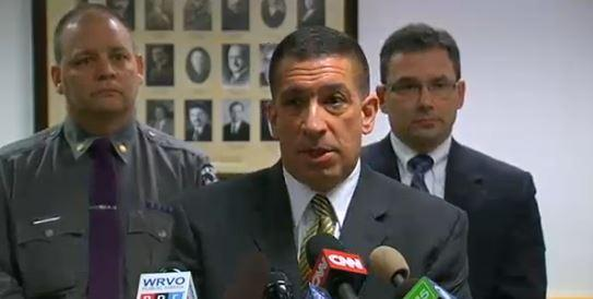 State Police Superintendent Joseph D'Amico briefing media in Herkimer on Thursday