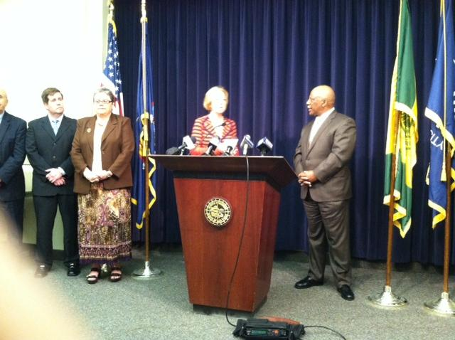 County Executive Maggie Brooks introducing the county's new Public Safety Director