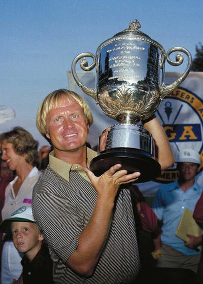 Jack Nicklaus hoists PGA trophy in 1980 at Oak Hill