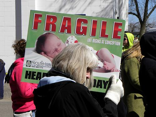 An anti-abortion rally outside a Planned Parenthood clinic