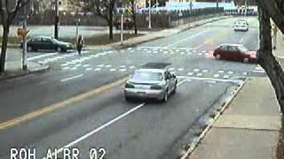 Red light camera captures a near miss at Broadway and Alexander