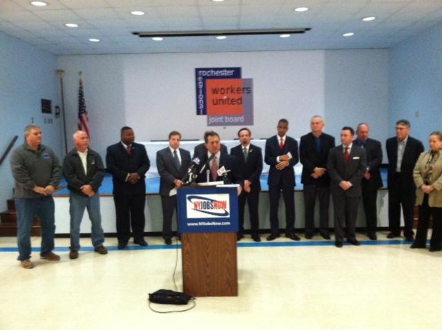 Assemblyman Joe Morelle and leaders of business and labor advocating for casinos
