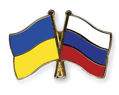 Ukraine and Russian Flags