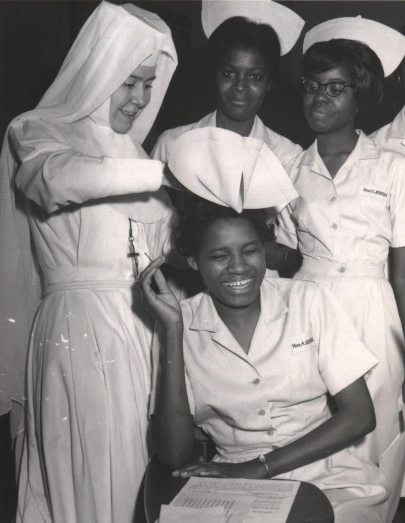 Sr. Barbara Lum at capping ceremony at Good Samaritan Hospital in Selma, Alabama in 1960s