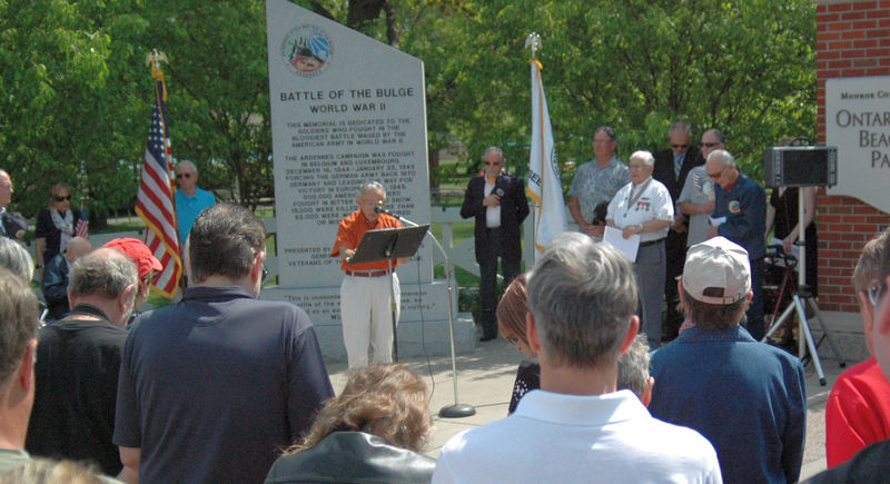 Memorial Day ceremony at the Battle of the Bulge monument at Ontario Beach Park in Charlotte.