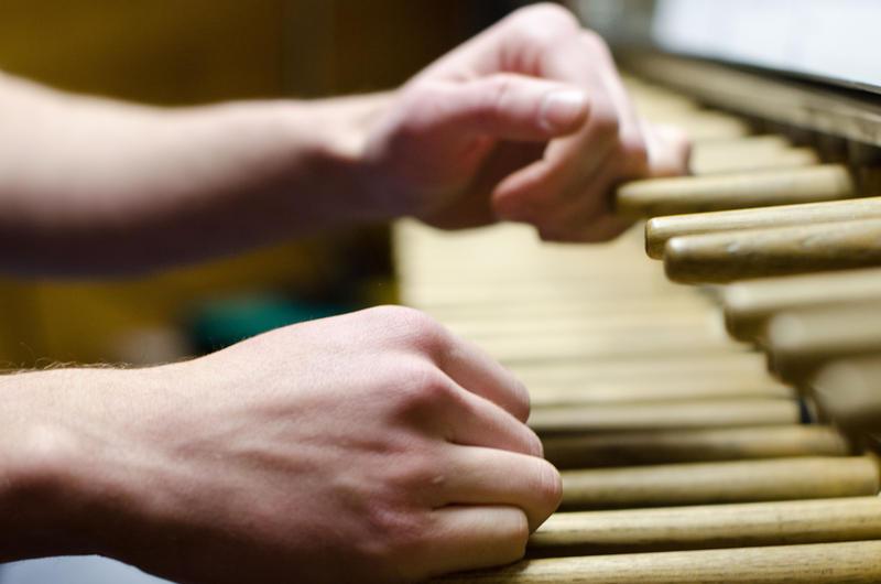 Jeff Kabel '12 of Hollis, NH plays a piece on the carillon.