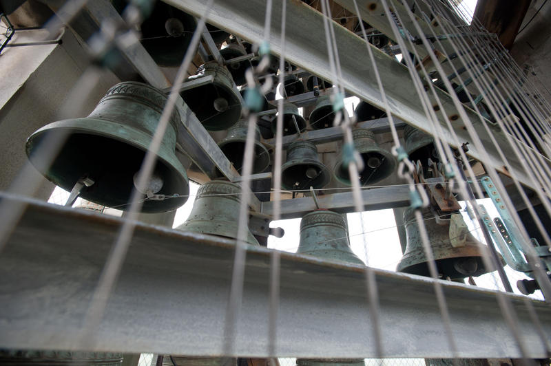 A view of the bells that make up the Hopeman Memorial Carillon in the tower of Rush Rhees Library.