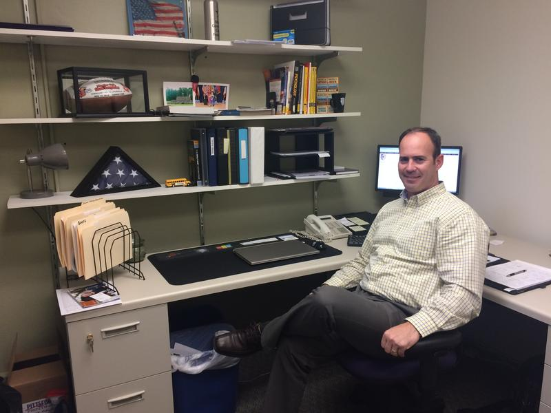 Nazareth College veterans enrollment coordinator Chad Van Gorder in his office at Nazareth.