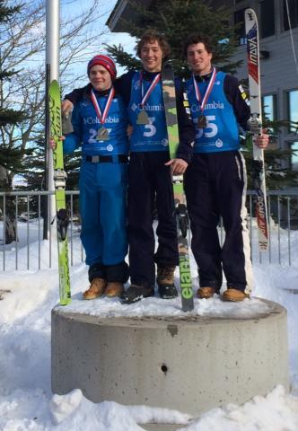 Three men from the Bristol Mt. Snow Sports Club sweep the podium at the U.S. team selections in Dec. Christopher Lillis (center) was first. The youngest Lillis brother, Michael (left), was second and Patrick O'Flynn (Penfield) third.