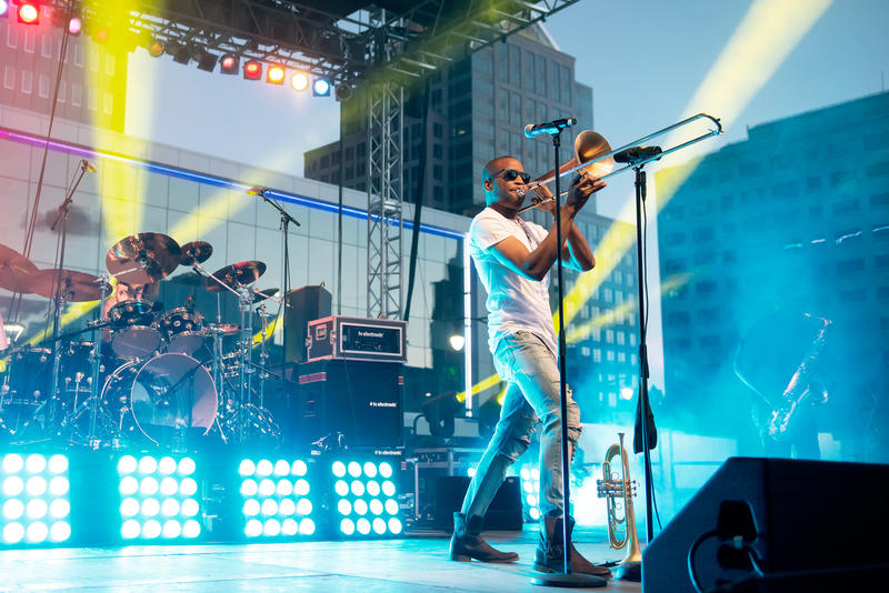 Trombone Shorty was the featured act at the City of Rochester Midtown Stage.