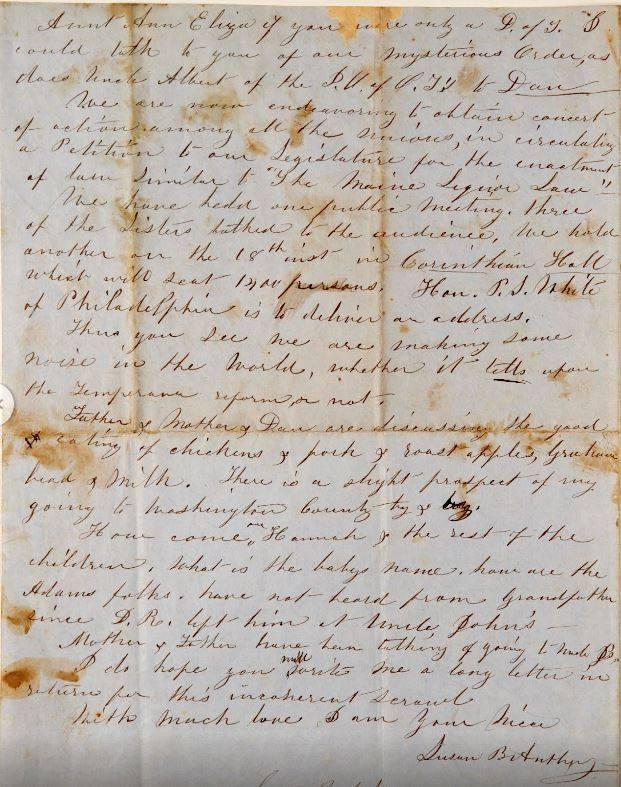 Portion of letter written by Susan B. Anthony to her aunt and uncle in 1851