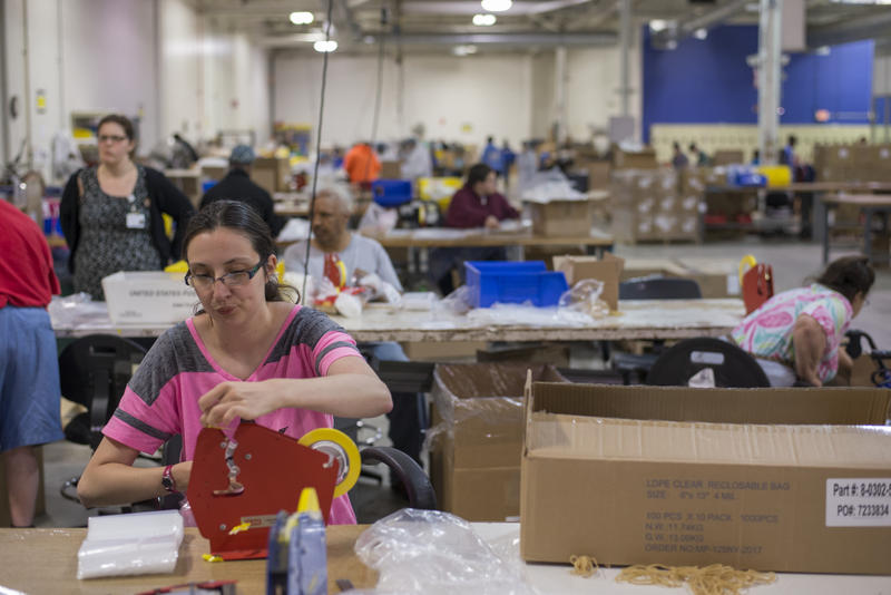 More than 100 people work at the ArcWorks sheltered workshop, including Carrie D'Olivo.
