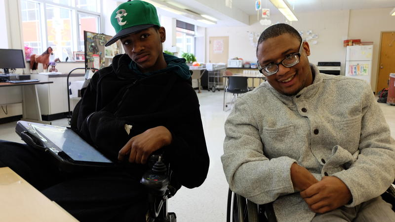 """I will miss this clown,"" Akin Johnson says about his East High classmate, Lewis Ingram, seen at left."